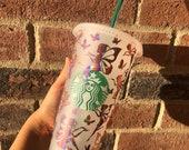 Custom pink holographic fairy Starbucks cup