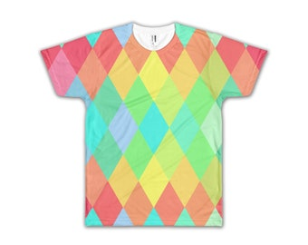 f921d969 Easter Colors Diamond Pattern Shirt - Custom All-Over Easter Print Tee,  Muted Colors Sublimation