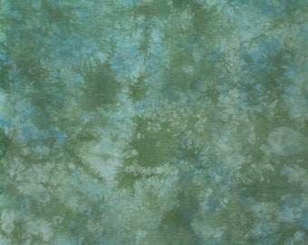 Abstract green and a little bit royal blue design Hand dyed 18 count Aida Brand new cross stitch fabric