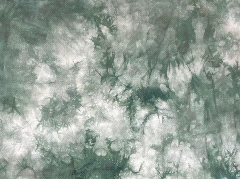 Light dark green Hand dyed cross stitch fabric Choose Aida Linen or Evenweave counts