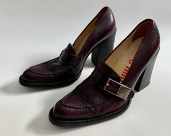 7c2c3a91fb0 SALE was 240 NOW 168 Vintage Designer Miu Miu Purple Shoes Loafer Stacked  Heel Size 37.5 EU Made in Italy