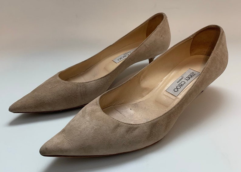05b504c1d9b4f Vintage Designer Jimmy Choo London Suede Cream Leather Kitten Heels EU 39.5  Made in Italy