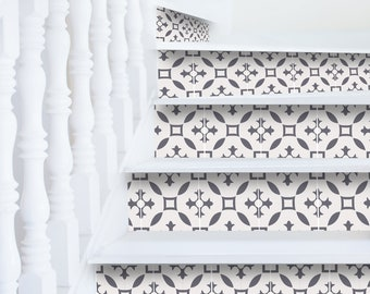"""White classy stair risers decor 