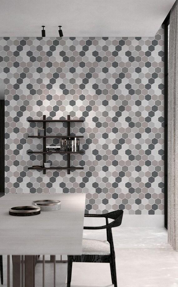 Removable Vinyl Wallpaper Grey hexagon wallpaper Wall Mural #60W Self-Adhesive Hexa in Smoke
