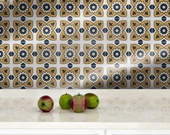 Vinyl yellow blue patchwork wall protector sticker | Sierra | Removable Vinyl Wallpaper | Eclectic | Backsplash Sticker | Moroccan #55S
