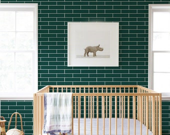 Midcentury dark green wallpaper | Self-Adhesive | Repositionable | Peel & Stick #55W