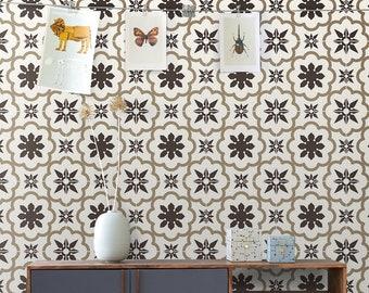 Beige moroccan wallpaper | Peel & Stick | Eclectic Wallpaper | Self-Adhesive #17W