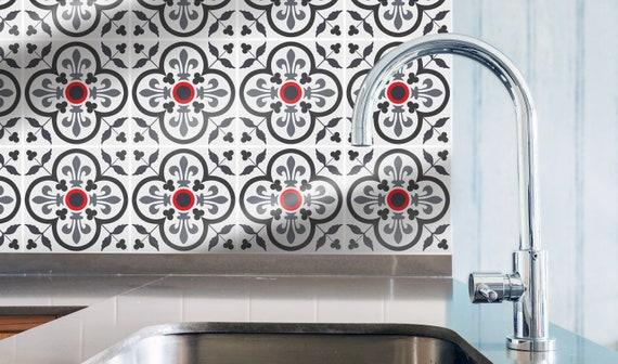 Removable Backsplash Sticker #51S Ethnic mint kitchen tile wall decal Wall Protector Samsara Celadon Peel /& Stick