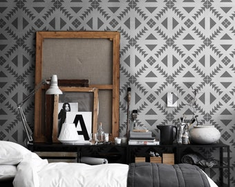 Aztec grey wallpaper | Eclectic Wallpaper | Peel & Stick | Self-Adhesive #30W