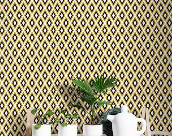 Yellow geometric wallpaper | Repositionable | Wall Mural #74W