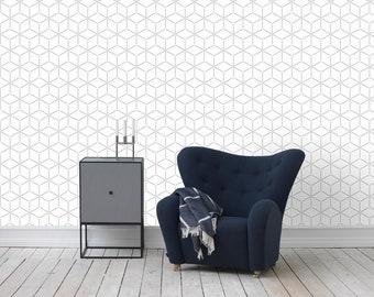 White hexagon geometric wallpaper | Wall Mural | Self-Adhesive #6W