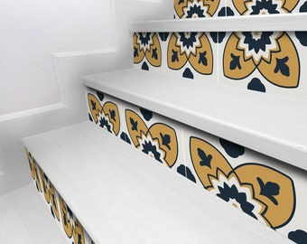 """Colorful patchwork yellow mix stair risers 