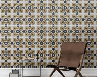 Lisbon yellow eclectic wallpaper | Peel & Stick | Wall Mural | Renters #10W