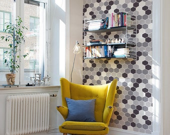 Hexagon grey mix wallpaper | Peel & Stick | Eclectic Wallpaper | Reusable | Renters #65W