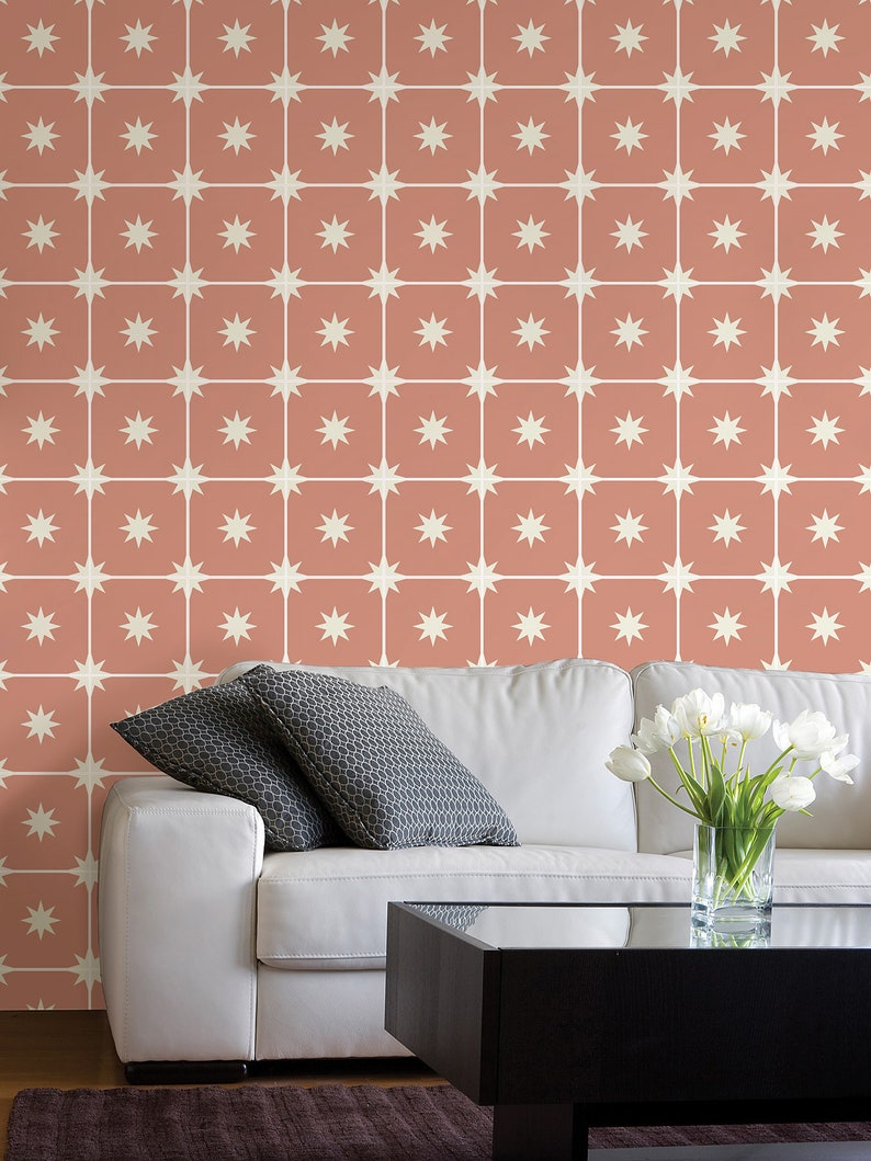 Pink Eclectic Wallpaper Starry Night Rose Repositionable Etsy