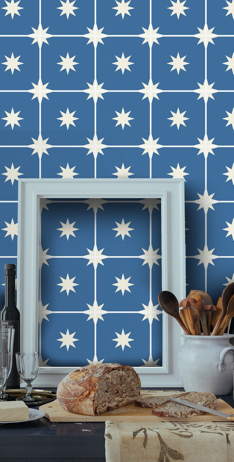 Blue Moroccan Greek Wallpaper Moroccan Starry Night Cobal Etsy