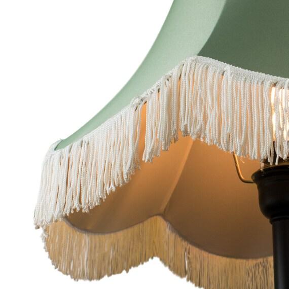 Mona Rustic Fringe Lampshade Floor Lamps Handmade Silk Fabric Green