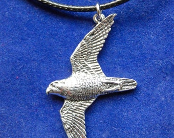 Sterling Silver Falcon Bird Charm Necklace Falcon Spirit Animal Necklace Sterling Silver Etched Bird Charm Necklace Bird Charm Necklace