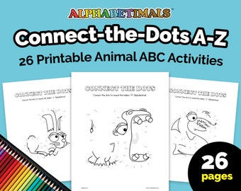 Alphabetimals™ Connect-the-Dots A-Z – 26 Printable Animal ABC Activities / Toddler-Preschool Worksheets / Uppercase Alphabet Coloring Pages