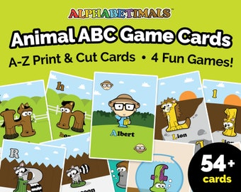 Alphabetimals™ Animal ABC Game Cards - A-Z Print & Cut Cards / Preschool Alphabet Games / Uppercase + Lowercase Letter Matching Flash Cards