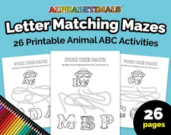 Alphabetimals™ Letter Matching Mazes – 26 Printable Animal ABC Activities / Toddler-Preschool Worksheets / Uppercase Alphabet Coloring Pages