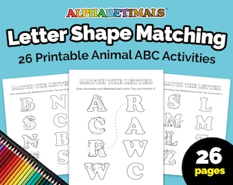 Alphabetimals™ Letter Shape Matching – 26 Printable Animal ABC Activities / Toddler-Preschool Worksheets / Uppercase Alphabet Coloring Pages