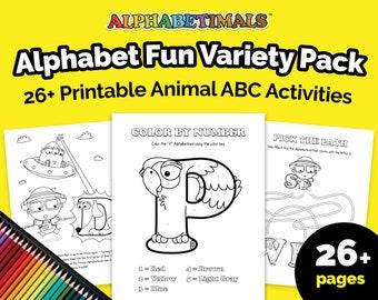 Alphabetimals™ Alphabet Fun Variety Pack - 26+ Printable Animal ABC Activities / Coloring Pages / Toddler-Preschool-Kindergarten Worksheets