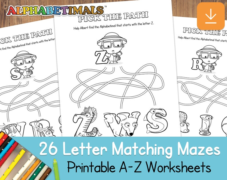26 Letter Matching Mazes Worksheets   Alphabetimals: image 0