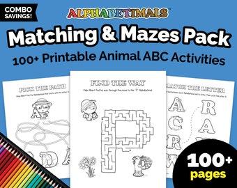 Alphabetimals™ Matching & Mazes Pack - 100+ Printable Animal ABC Activities / Preschool - Kindergarten Alphabet Worksheets / Learn Letters