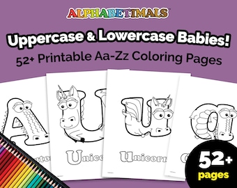 Alphabetimals™ Uppercase & Lowercase Babies! - 52+ Printable Aa-Zz Coloring Pages  / Toddler-Preschool Letter Activities / Animal Alphabet