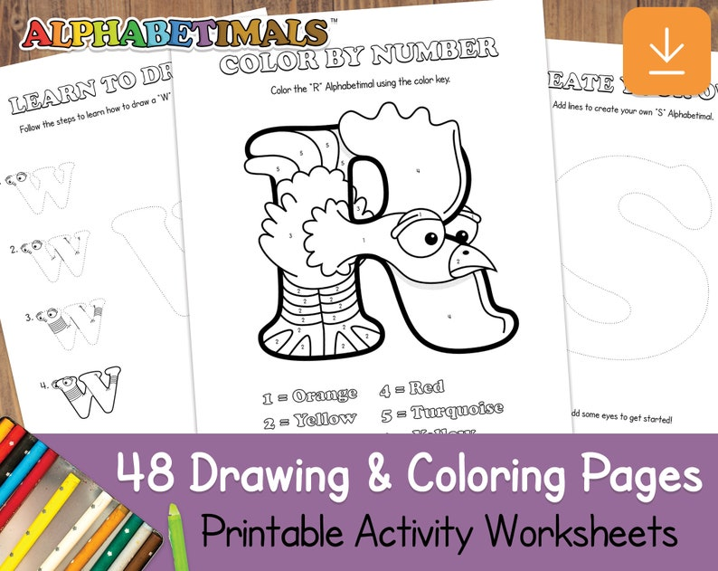 48 Drawing & Coloring Pages  Alphabetimals: Printable image 0