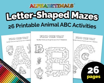 Alphabetimals™ Letter-Shaped Mazes – 26 Printable Animal ABC Activities / Toddler & Preschool Worksheets / Uppercase Alphabet Coloring Pages