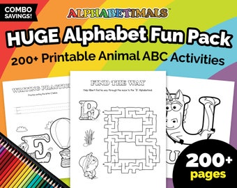 Alphabetimals™ HUGE Alphabet Fun Pack - 200+ Printable Animal ABC Activities / Uppercase & Lowercase Coloring Pages / Preschool Worksheets