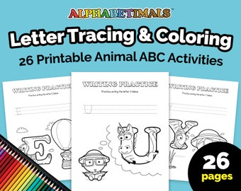 Alphabetimals™ Letter Tracing & Coloring – 26 Printable Animal ABC Activities / Toddler-Preschool Worksheets / Uppercase Writing Practice