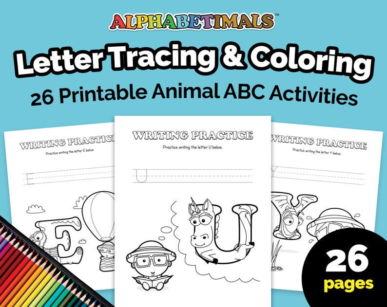 Alphabetimals™ Letter Tracing & Coloring  26 Printable Animal image 0