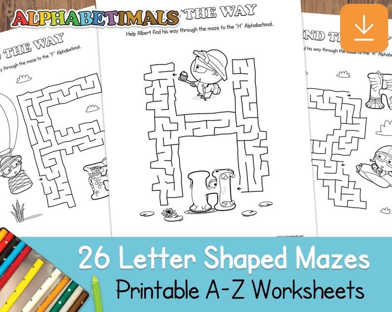 26 Letter Shaped Mazes Worksheets  Alphabetimals: Printable image 0