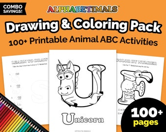 Alphabetimals™ Drawing & Coloring Pack - 100+ Printable Animal ABC Activities  / Learn to Draw / Color By Number / Animal Coloring