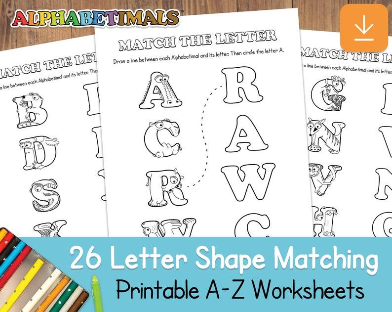 26 Letter Shape Matching Worksheets  Alphabetimals: Printable image 0