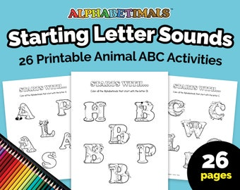 Alphabetimals™ Starting Letter Sounds – 26 Printable Animal ABC Activities / Toddler-Preschool Phonics Worksheets / Alphabet Coloring Pages