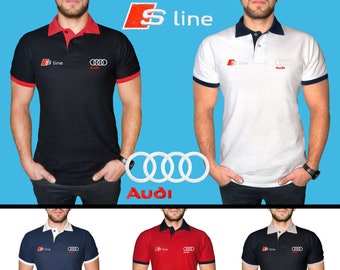 b3aacc640 Audi S Line Polo T Shirt COTTON EMBROIDERED Logo Auto Car Mens Clothing  Clothes Gift Black White Blue Red Friend Christmas Father Husband