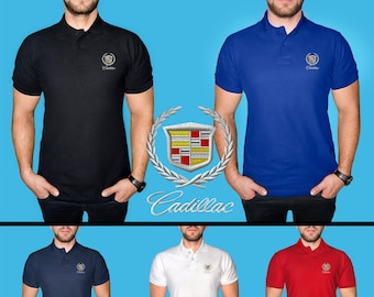 900bb464 Cadillac Polo T Shirt COTTON EMBROIDERED Logo Auto Car Mens Clothing  Clothes Gift Black White Blue Red Friend Christmas Father Day Husband