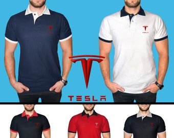 245770d6 Tesla Polo T Shirt COTTON EMBROIDERED Logo Auto Electric Car Mens Clothing  Clothes Gift Black White Blue Red Friend Christmas Father Husband