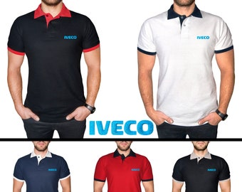 6cf2158b1 IVECO Polo T Shirt COTTON EMBROIDERED Logo Truck Auto Mens Clothing Clothes  Gift Black White Blue Red Friend Christmas Father Day Husband
