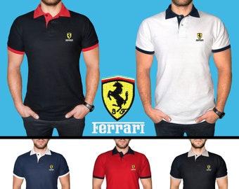 a550e9acfc7 Ferrari Polo T Shirt COTTON EMBROIDERED Logo Auto Car Mens Clothing Clothes  Gift Black White Blue Red Friend Christmas Father Husband Sport