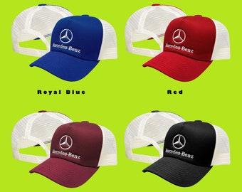 1c3e883e Mercedes Benz Trucker Mesh Baseball Cap EMBROIDERED Logo Car Auto Hat Mens  Womens Gift Accessories Adjustable T Shirt Friend Black Blue Red