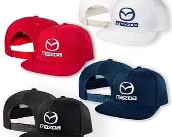 bc9673d92e0d2 Mazda 5 Panel Baseball Cap EMBROIDERED Logo Snapback Hip Hop Car Auto Hat  Mens Womens Friend Gift Accessories T Shirt White Black Blue Red