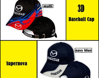 3cf12be754a63 Mazda Baseball Cap 3D EMBROIDERED Logo Black Red Navy Blue Car Auto Hat  Mens Womens Gift Accessories Adjustable T Shirt Friend Sport Father