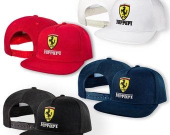 b3ecc298 Ferrari 5 Panel Baseball Cap EMBROIDERED Logo Snapback Hip Hop Car Auto Hat  Mens Womens Friend Gift Accessories T Shirt White Black Blue Red