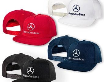 e1d9ae1e1ca29 Mercedes Benz 5 Panel Baseball Cap EMBROIDERED Logo Snapback Hip Hop Car  Auto Hat Mens Womens Gift Accessories T Shirt Friend Black Blue Red