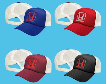 9cc4058d63349 Honda Trucker Mesh Baseball Cap EMBROIDERED Logo Car Auto Hat Mens Womens  Gift Accessories Adjustable T Shirt Friend Black Blue Red